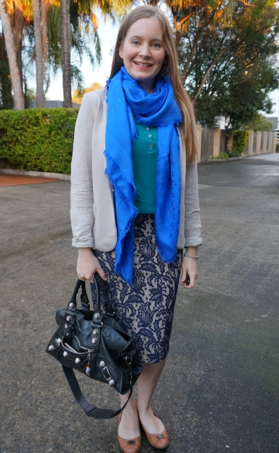 blue and teal business casual winter office outfit with Louis Vuitton monogram shawl | away from blue