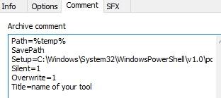 How to create an exe using Winrar to run a Powershell script