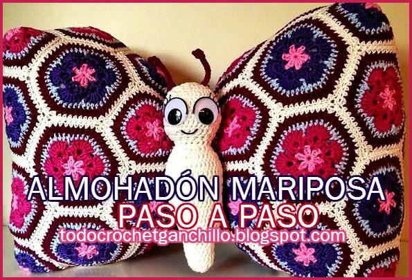Almohadon forma de mariposa paso a paso crochet