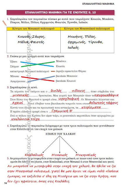 Επαναληπτικό μάθημα ιστορίας για τις ενότητες 9, 10 (Τετράδιο Εργασιών)