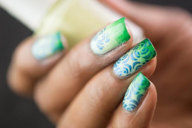 Lacquer Lockdown - uberchic beauty, UC 27-02, gradient nail art, gradient nails, stamping, nail art stamping, stamped nails, Simples, uberchic, crescent nail art, floral nail art, flower nail art, flower nails