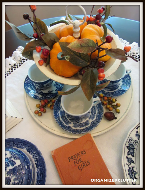 Blue Transferware Fall Centerpiece