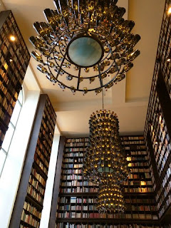 Towering bookshelves and chandeliers, B2 Hotel, Zürich, Switzerland