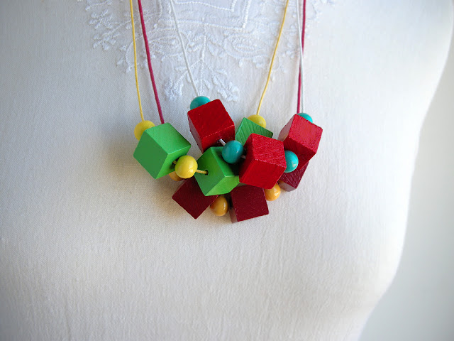 cube wood bead necklaces