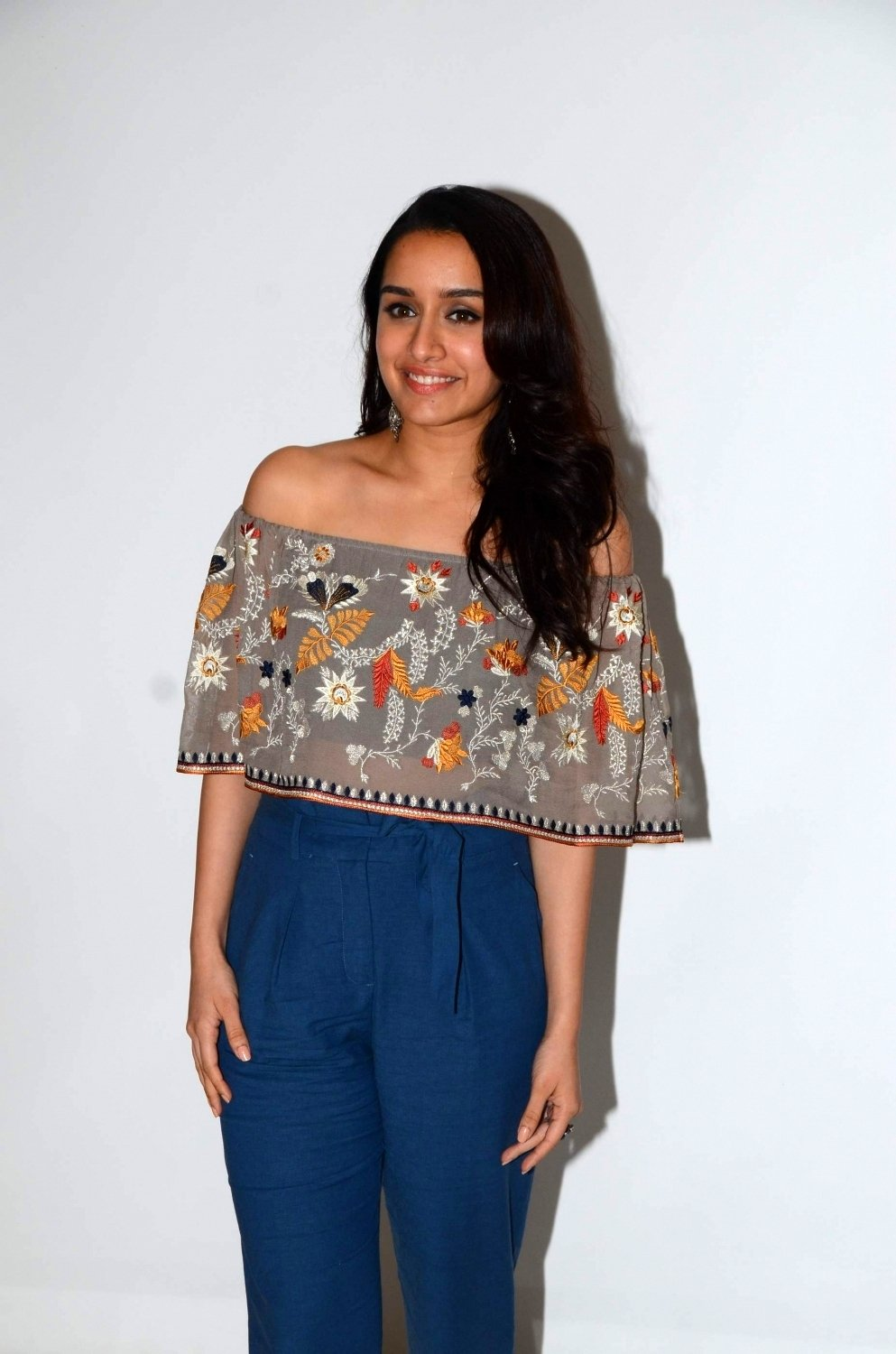Shraddha Kapoor in a Transparent top Blue Trousers tube bra promoting movie Half Girlfriend