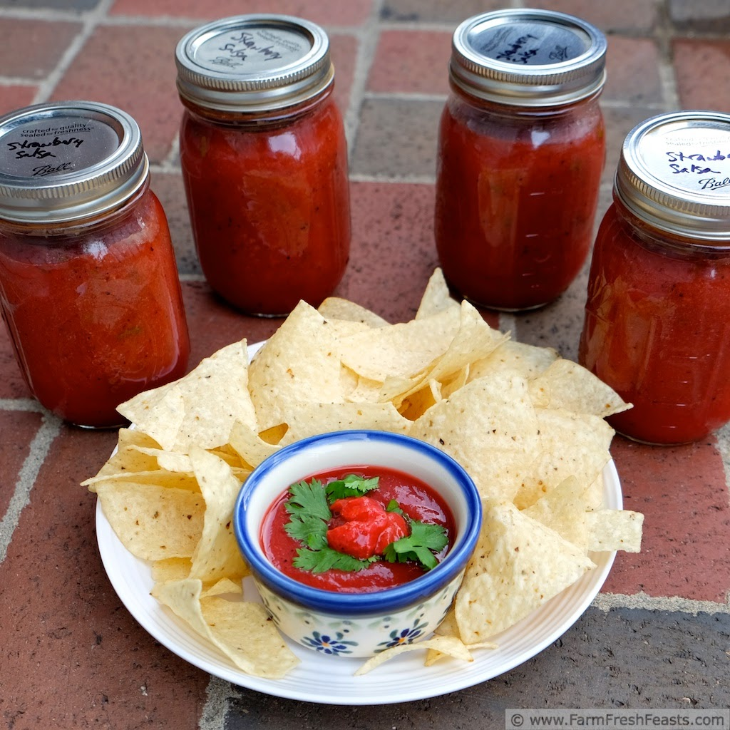 jars of canned strawberry salsa