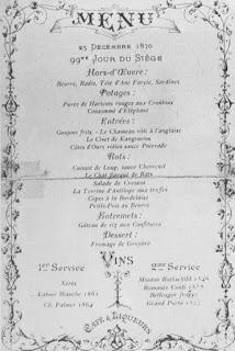 Menu au Restaurant Voisin 1870 (siège de Paris)