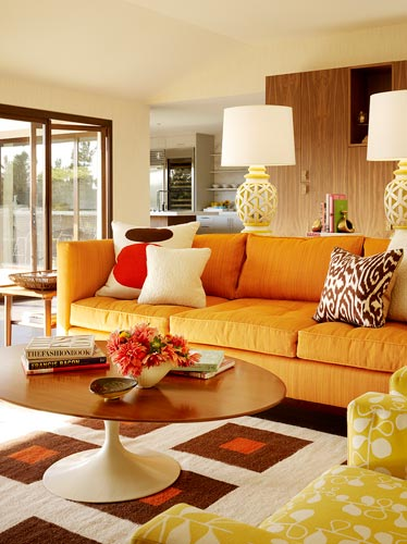 Mid century modern living room design ideas room design Orange and red living room design
