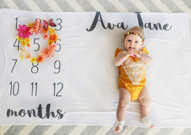ava jane baby girl spring month to month monthly milestone blanket pregnancy ideas 5 months old child model flower crown boho spring march april may summer baby monthly marker