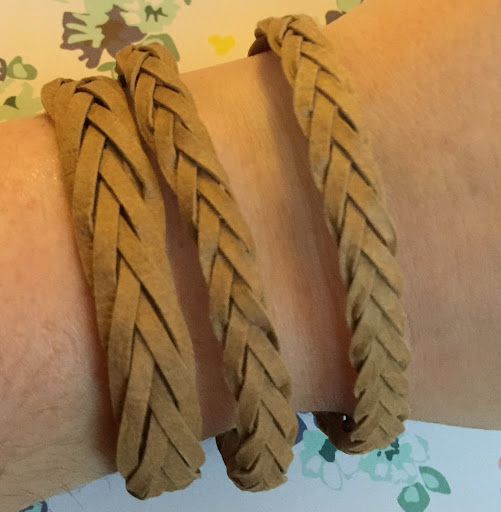 5 and 7 strand faux leather mystery braid bracelets by Nadine Muir for UK Silhouette Blog
