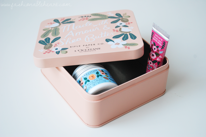bbloggers, bbloggersca, canadian beauty bloggers, beauty blog, l'occitane, rifle paper co., rifle paper co. for l'occitane, gift, freebie, ultra rich body cream, shea butter, wonderful rose, hand cream, collectible tin, gift with purchase, floral print, minis, skincare, made with amour and shea butter