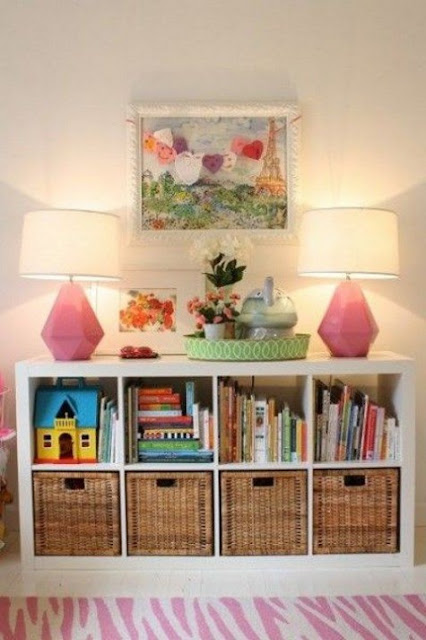 Ikea hack for Kallax shelving in chic kids room - found on Hello Lovely Studio