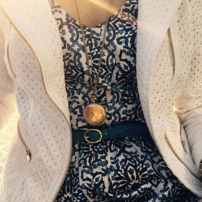 ann taylor eyelet jacket - rocksbox - milly for kohl's dress - milly dress - kohl's dress - ann taylor white moto jacket