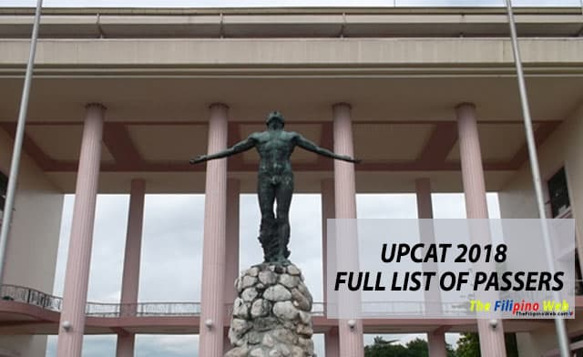 LIST OF PASSERS: UPCAT Results AY 2018-2019