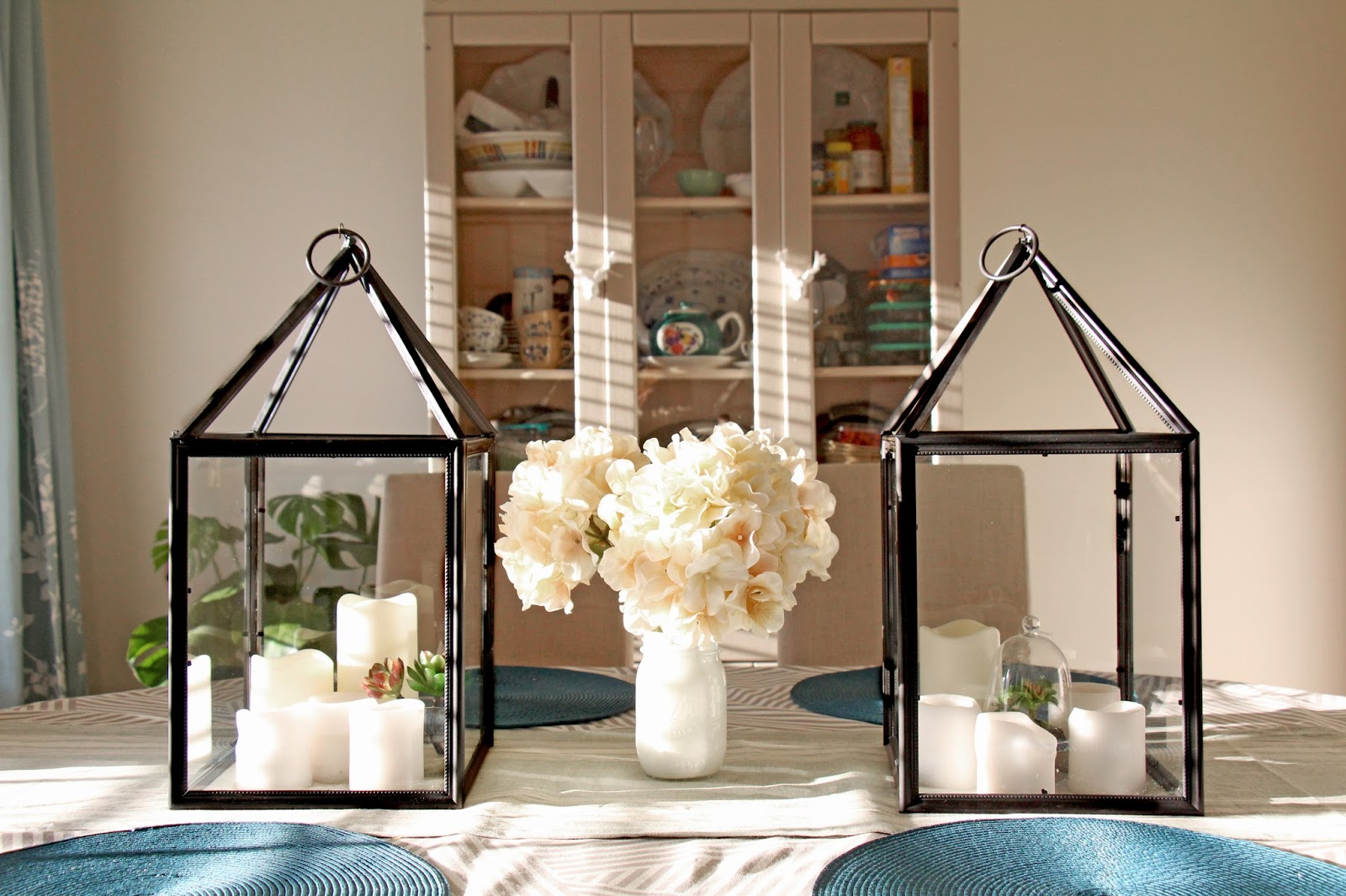 Grosgrain diy hurricane lanterns out of dollar store frames they look great as centerpieces jeuxipadfo Choice Image