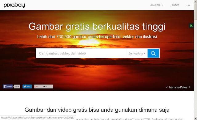 Halaman beranda Pixabay