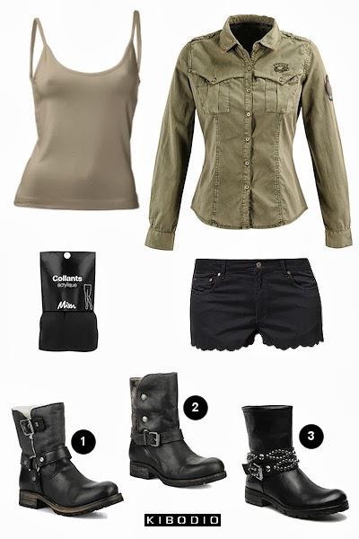 Chemise kaki femme et short noir.