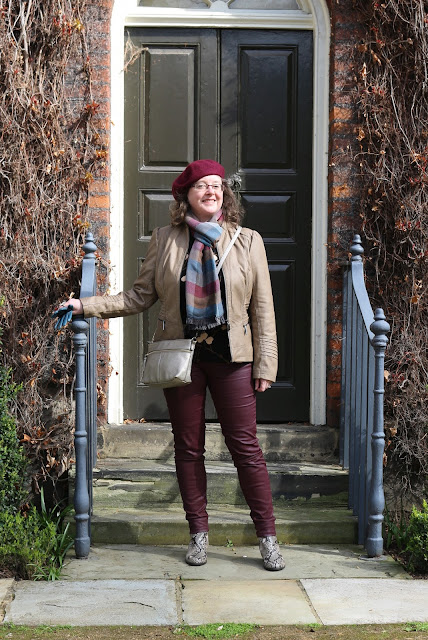 Stylish Look on a Budget; Faux Leather Jacket, Burgundy Coated Biker Jeans, Snakeskin Boots, beret | Petite Silver Vixen, over 40 style