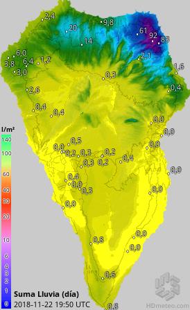 Las lluvias se concentran en el noreste de La Palma
