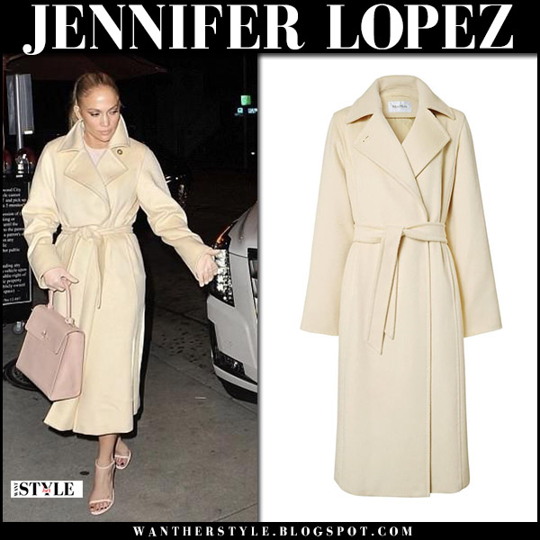Jennifer Lopez in cream belted coat max mara manuela and sandals street style april 1