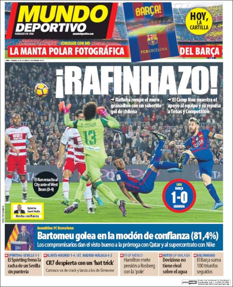 Portada Mundo Deportivo 30-10-2016