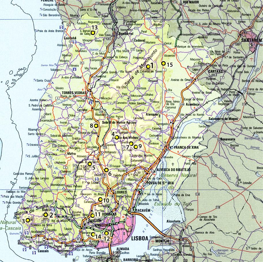mapa concelhos do distrito de lisboa Lista das elevações do distrito de Lisboa | Garcias   Montanhas de  mapa concelhos do distrito de lisboa