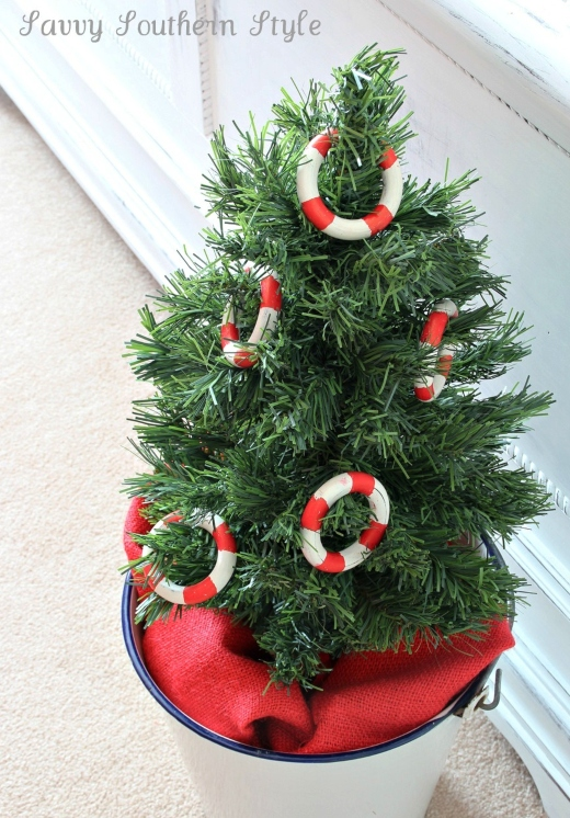 Nautical Mini Christmas Tree in Bucket