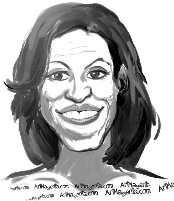 Michelle Obama caricature cartoon. Portrait drawing by caricaturist Artmagenta