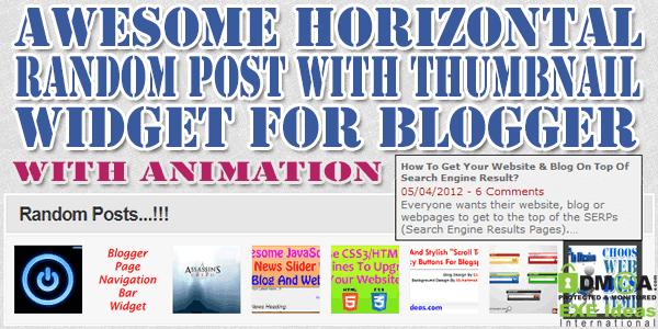 Gadget des Articles aléatoire + image en Horizontal pour Blogger