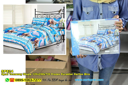 Sprei Tommony Single 120x200xT20 Frozen Karakter Kartun Biru