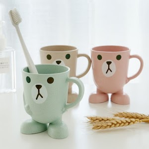Originality Wheat Straw Can Cartoon Cup Three-dimensional Base Gargle