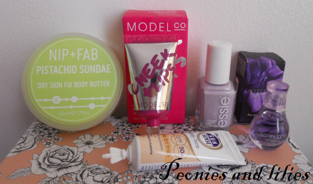 Glossybox april 2013, Glossybox pearl lowe, NIP and fab body butter, Model co cheek and lip tint, Essie nice is nice, Yves rocher so elixir purple perfume, Sunsence daily face spf 50