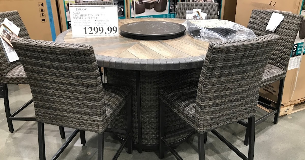 Agio 7 Piece High Dining Set With Firetable Costco Weekender