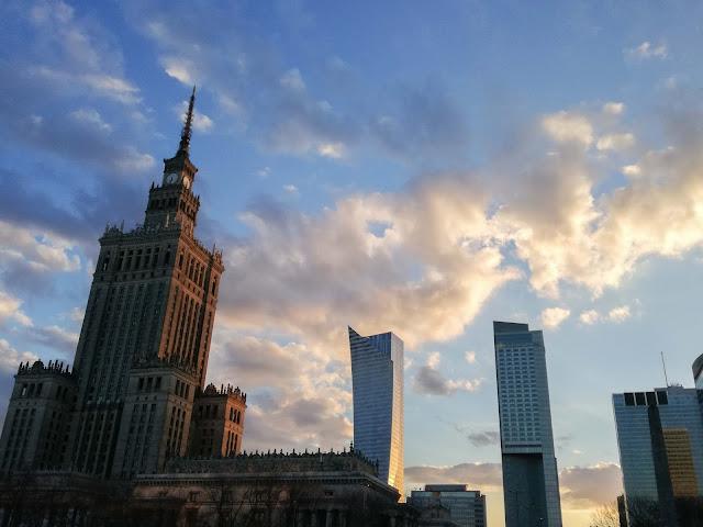 Warszawa, Pałac Kultury, zachód słońca