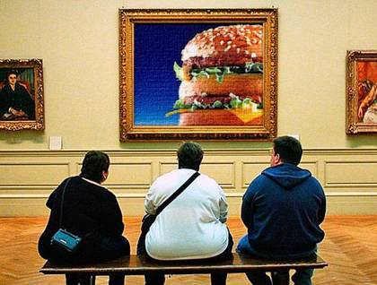 Fat men excited by big mcdonalds