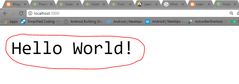 Create Hello World project with Node js and Express - First Code