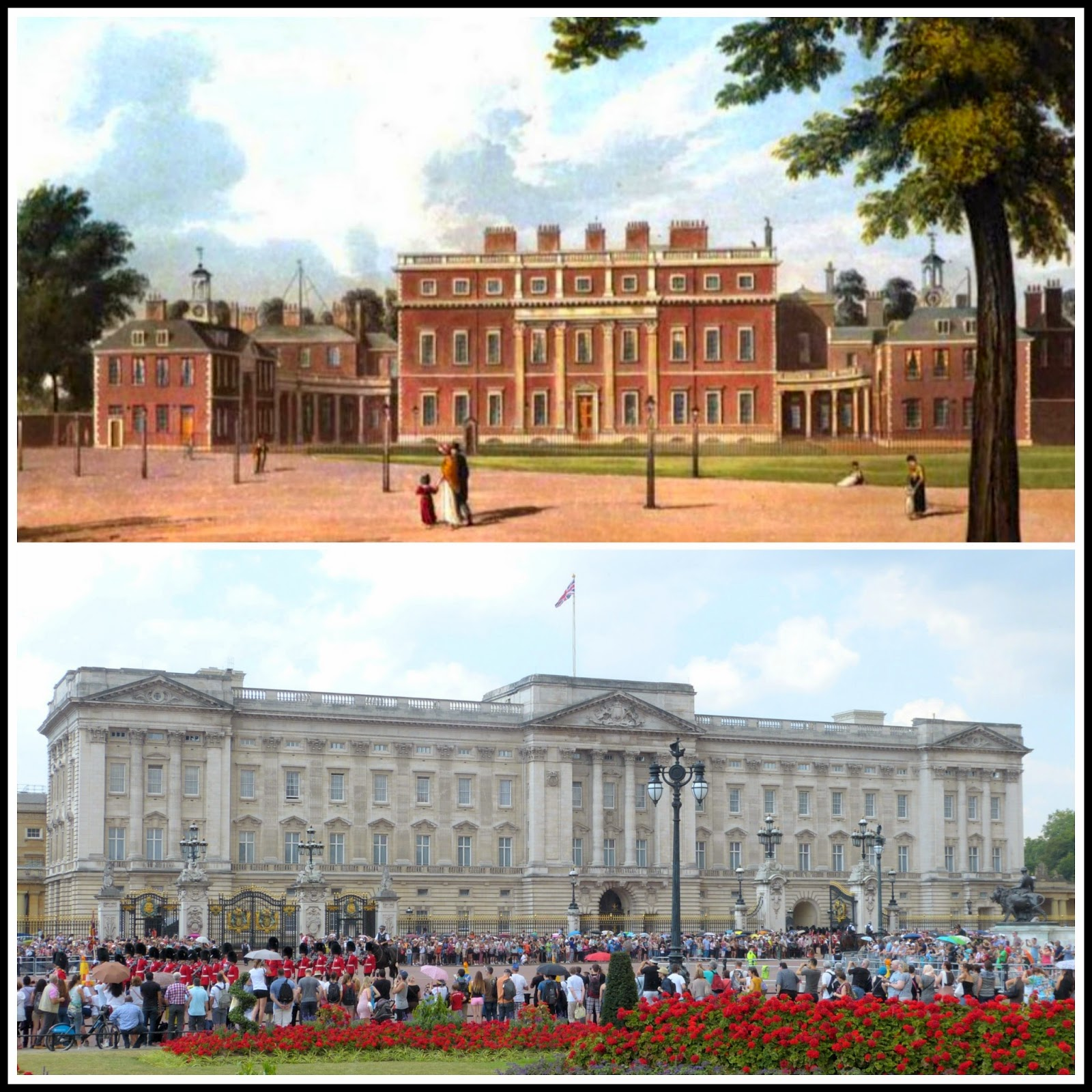 Top: Buckingham House from    The History of the Royal Residences by WH Pyne (1819)  Bottom: Buckingham Palace today © Andrew Knowles