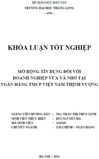 Mở rộng tín dụng đối với doanh nghiệp vừa và nhỏ tại Ngân hàng TMCP Việt Nam Thịnh Vượng