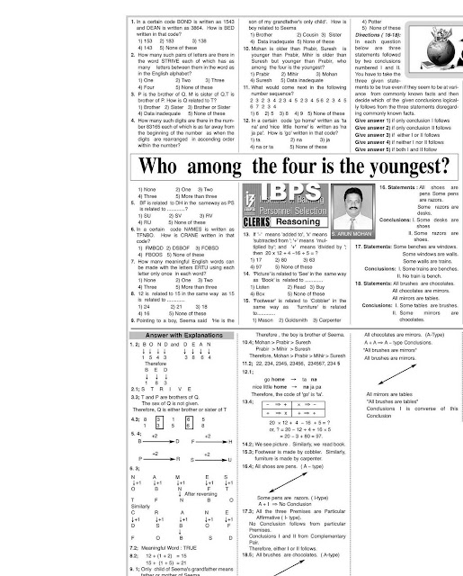 IBPS Practice questions from eenadu prathibaKnow Every