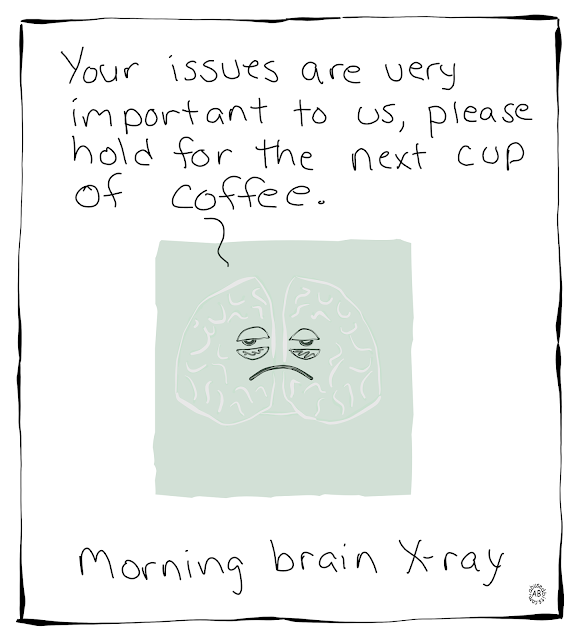 amusedbits, cartoon, humor, morning, brain, x-ray, xray
