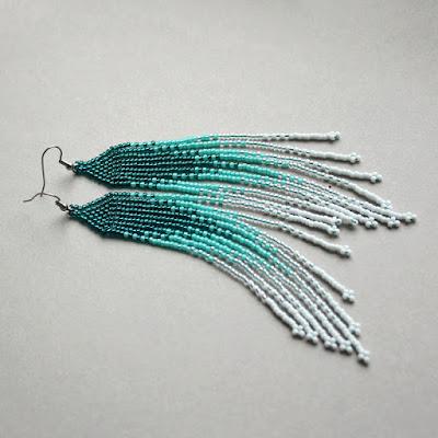 очень длинные серьги купить украшения ручной работы из бисера