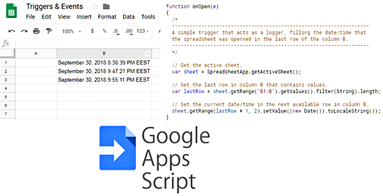 Triggers & Events In Google Sheets