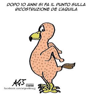 L'Aquila, terremoto, ricostruzione, satira, vignetta