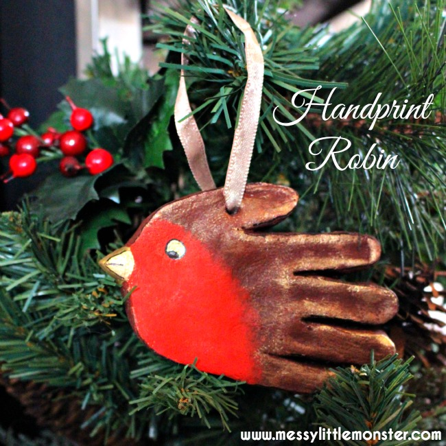 Salt dough handprint ornament robin keepsake.  Christmas craft for toddlers, preschoolers and older kids.