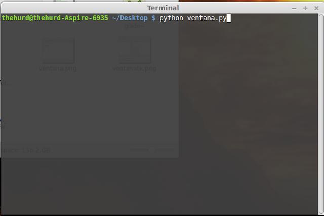 Escribimos: python ventana.py en Terminal.