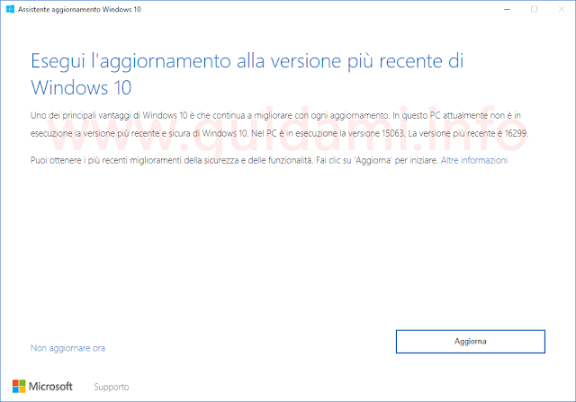 Assistente aggiornamento per aggiornare a Windows 10 Fall Creators Update