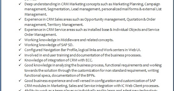 sap crm functional consultant sample resume format in word