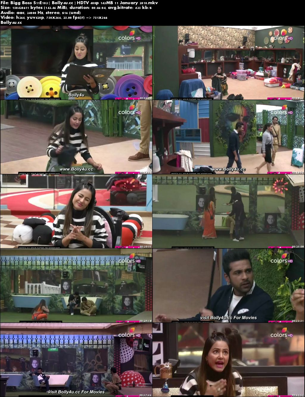 Bigg Boss S11E103 HDTV 480p 140MB 11 January 2018 Download