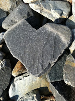 In a pile of rocks, one in the foreground is heart-shaped