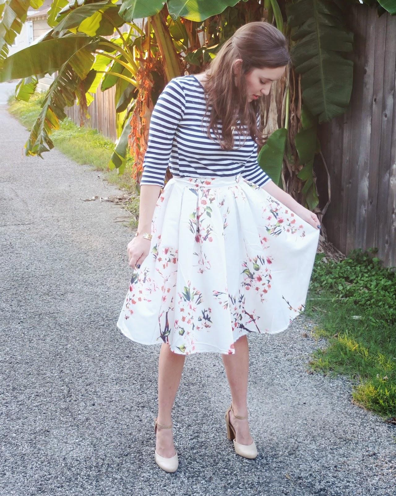 SheInside Floral Skirt, SheInside Midi Skirt, SheInside Skirt, Stripe Top and Floral Skirt, Seychelles Prowl heels, Seychelles Conquer Heels, Seychelles Nude Heels, Trendy in Texas,